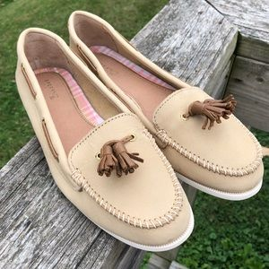 🆕List! Sperry Tasseled Tan Leather Loafers! EUC!